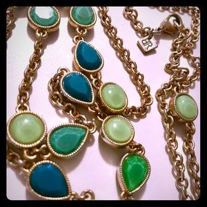 Banana Republic gold, green and turquoise necklace